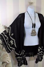 Mexican Ikat Embroidered Tassel Western Boho Festival Summer Kimono 16 18 20
