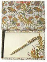 Deluxe Gift Box Set Gold/multicolor Floral Pen+10 Italian Blank Paper+envelope