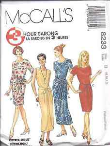 8233-McCalls-SEWING-Pattern-Misses-Sarong-Dress-3-Hours-Summer-Cover-Up-UNCUT-FF