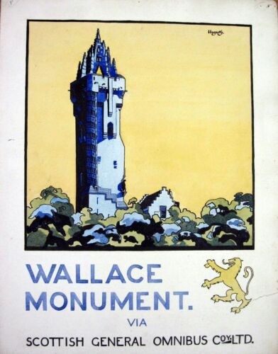 Vintage Scottish Bus Poster Wallace Monument Poster A3//A2 Print