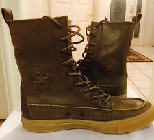 Converse All Star Chuck Taylor Mens Leather Brown Mid High Gummy Bottoms Size 8