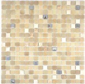 Glasmosaik-beige-Fliesenspiegel-Kueche-Wandverkleidung-Bad-WC-91-0214-10-Matten