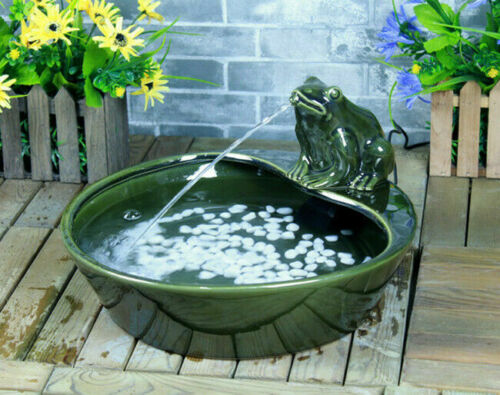 Green Glazed Ceramic Frog Solar Powered Outdoor Water Fountain Daytime Version