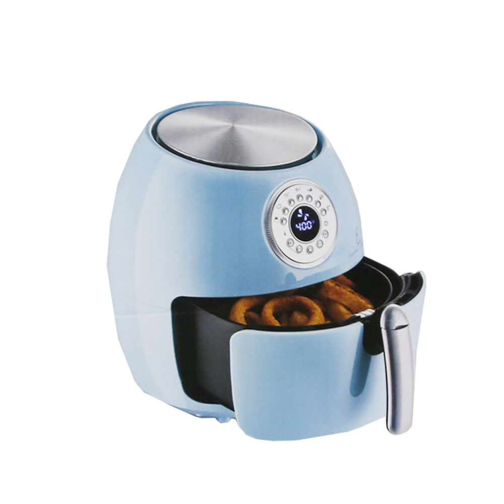 Emeril 5.3-qt Digital LED Air Fryer with 7  Cake Pan - Turquoise Re-manufactured