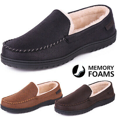Shop For Cheap Men's Memory Foam Plush Fleece Lined Moccasin Slippers Wool Micro Suede Shoes Fashionable In Style;