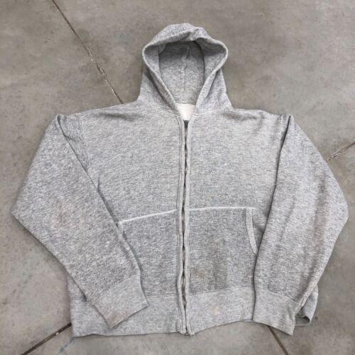 Vintage 60s Sweatshirt grey Zip100% hoodie hooded