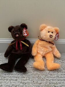 TY BEANIE BABY RETIRED  M.C.BEAR I & II NEW,PERFECT TAGS ,HOLOGRAM