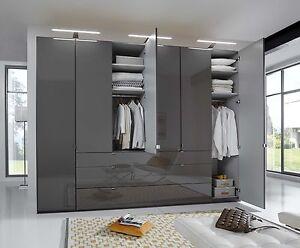 German Mobel 2m 4 Door Wardrobe Fitted Bedroom Graphite