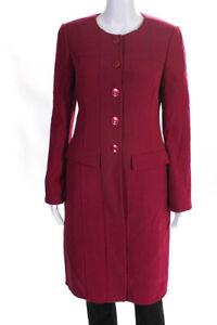 Armani-Collezioni-Womens-Button-Down-Coat-Raspberry-Pink-Size-EUR-42