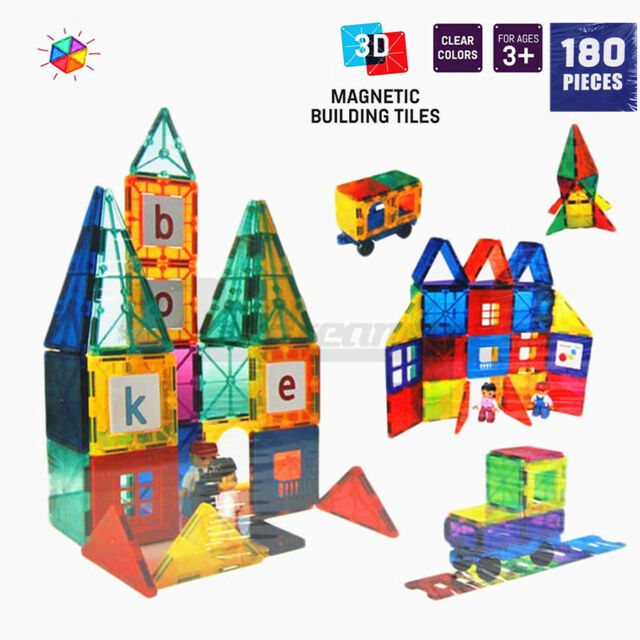 Magnetic Tiles 3D Clear Colour Building Blocks Toy Construction Play Toy 180PCS