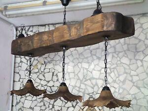 Lampadario In Stile Rustico In Legno E Terracotta Trave Antichizzata