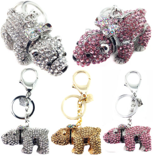 New Ladies Girls Polar Bear DIAMANTE Keyring Bag Charm KeyChain Gift Animal