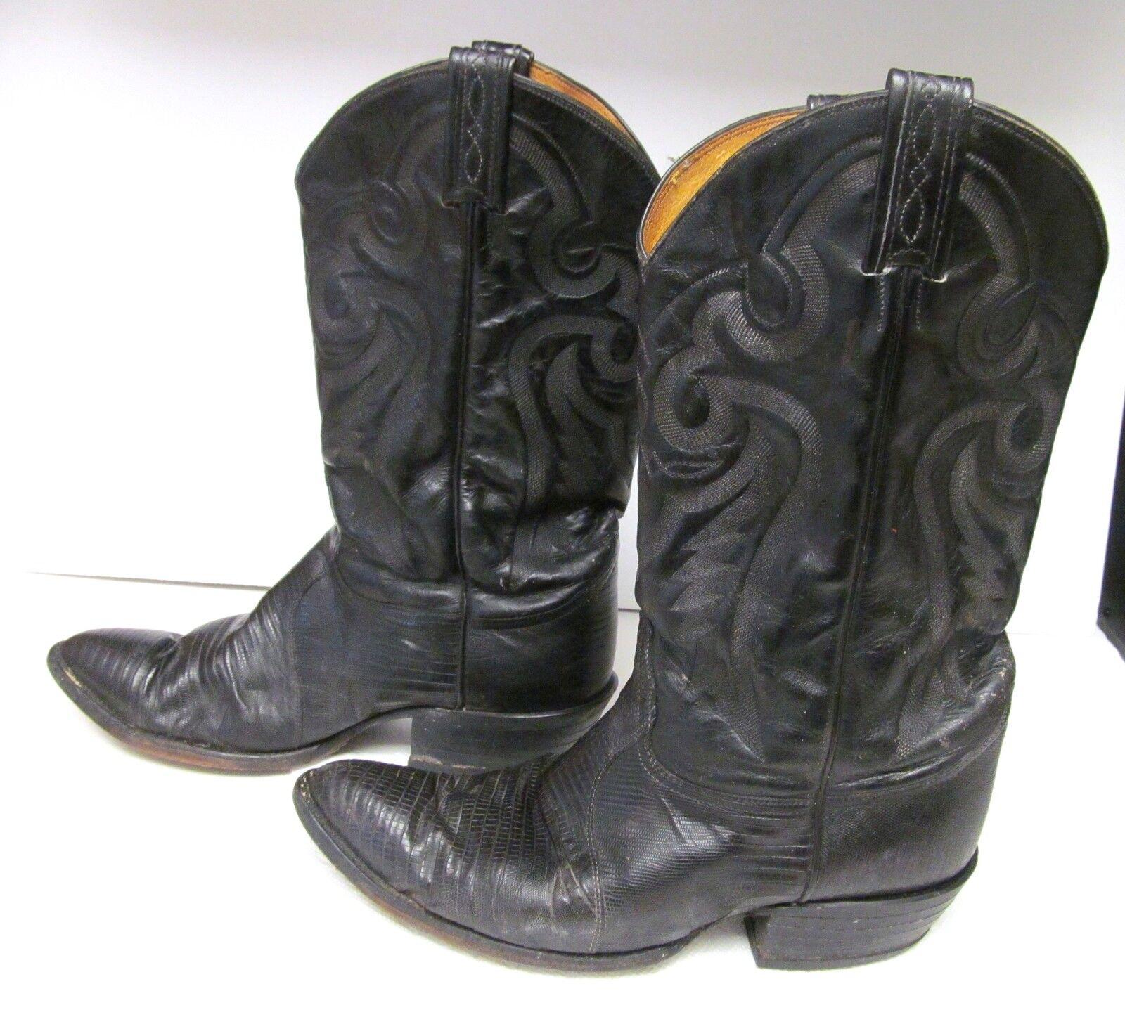 TONY LAMA BLACK LIZARD LEATHER BOOTS STYLE 8575 Distressed Vintage 10 D