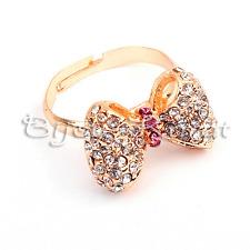 Feiner Strass Gold Ring mit Schleife Sweet Bow Universalgröße Vintage Mode Pink