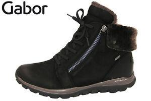 Details zu Rollingsoft Gabor Damen Schuhe gefüttert TEX Weite G Schwarz Leder NEU 76956 47