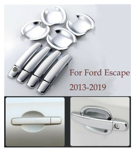 Chrome Door Handle Cover+Cup Bowl combo Cover Trim For Ford Escape 2013-2018 19