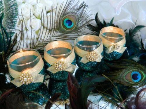 Peacock Weddi Peacock Wedding Peacock Decor 6 Candle Holders Wedding Candles