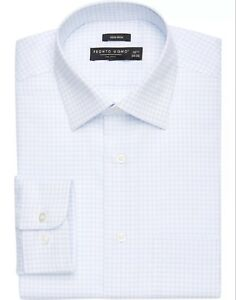 NWT-PRONTO-UOMO-Men-039-s-Light-Blue-CHECK-DRESS-SHIRT-16-5-32-33
