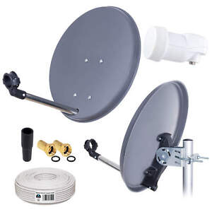 Sat-Installation-Mirror-Antenna-Camping-Mobile-Dish-Anthracite-40cm-LNB-Cable