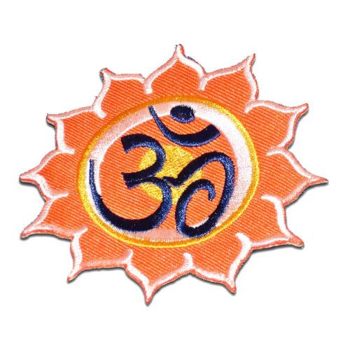 Aufnäher // Bügelbild Om Symbol spirituell Hindu Meditation orange Ø8,4 cm