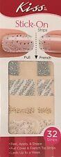 Kiss Nail Stick on Applique Strips French or Full 32 Strips DGSS49 Silk Gorgeous