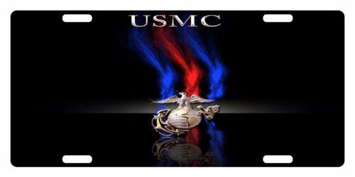 USMC Custom License Plate US Marines Corps Emblem  USMC Black Version #1