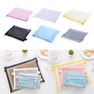 Clear-Exam-Pencil-Case-Transparent-Simple-Mesh-Zipper-Stationery-Bag-School