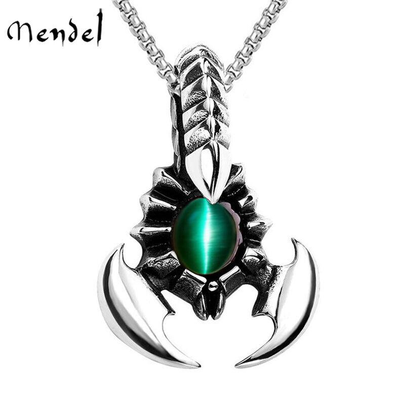 MENDEL Mens Stainless Steel Scorpion Scorpio Zodiac Pendant Necklace Jewelry Men