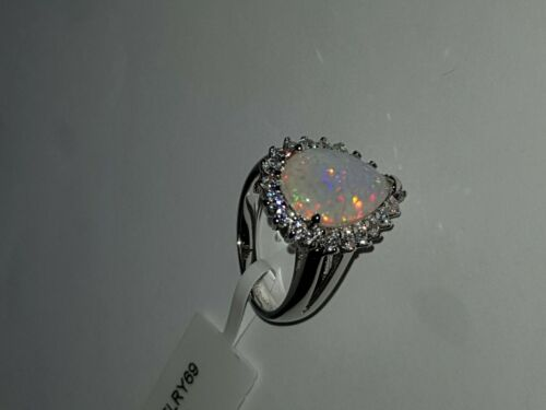 925 STERLING SILVER RHODIUM PLATED SAPPHIRE AND OPAL DRESS RING 6 7 8 9 10