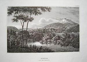 Coburg-Bayern-Franken-seltener-echter-alter-Stahlstich-1840
