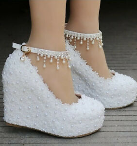 White Wedge Pearl Wedding Shoes Ebay