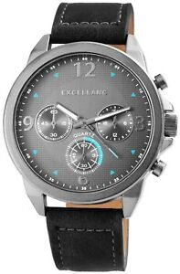 Excellanc-Herrenuhr-Grau-Silber-Chrono-Look-Kunst-Leder-Armbanduhr-X2900071004