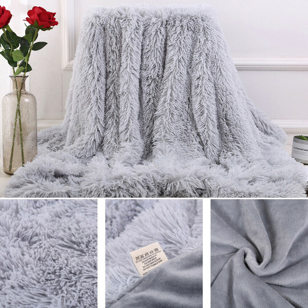 JF_ HB- DI- Bed Sofa Bedspread Bedding Sheet Throw Blanket Soft Fluffy Shaggy Bedding