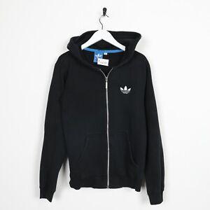 Vintage-ADIDAS-ORIGINALS-Small-Logo-Zip-Up-Hoodie-Sweatshirt-Black-Small-S