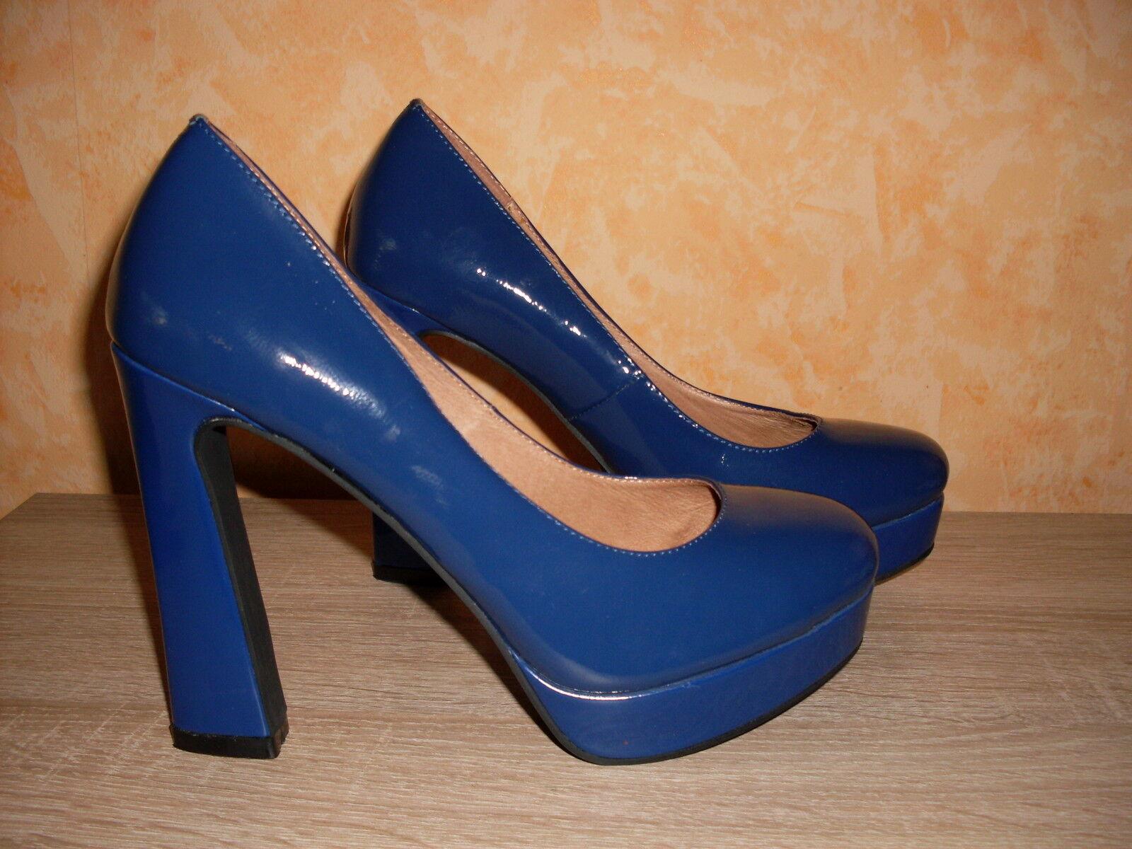 Designer Plateau Pumps NEU Gr. 40 in royal blau & Lackleder unbedingt ansehen!!