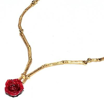 Collier Original Couleur Or Véritable Fleur Rose Rouge Bijou Necklace