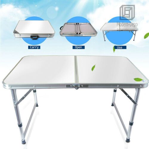 Height Adjustable Aluminum Folding Table Portable Outdoor Camping Dining Table