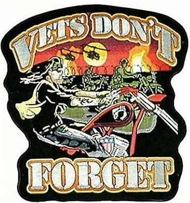 VETS DON'T FORGET EMBROIDERED Large Motorcycle MC Club BIKER BACK PATCH LRG-0034