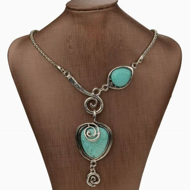 Nature Turquoise Vintage Heart Bib Collar Statement Stone Long Pendant Necklace