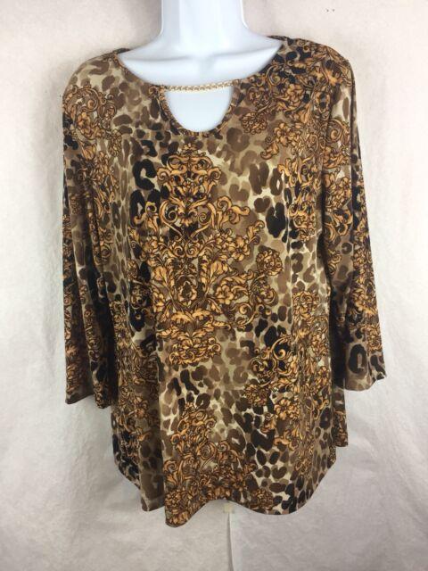 2c9da44e4915d8 Chicos Travelers 2 Blouse L Large Brown 3 4 Sleeve Chain Knit Top Shirt (