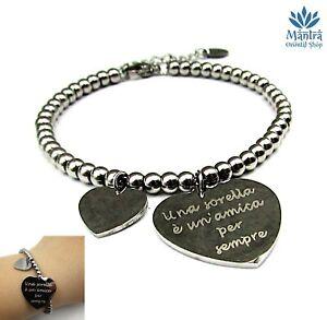 Bracciale donna in acciaio braccialetto scritta a perle sorelle dell amicizia da