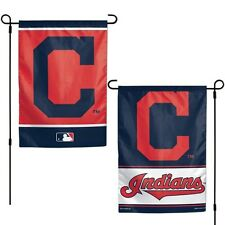 """CLEVELAND INDIANS 2 SIDED GARDEN FLAG 12""""X18"""" YARD BANNER OUTDOOR RATED"""