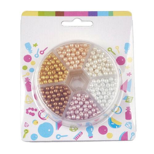 1 boîte ronde nacrée verre perle perles sets À faire soi-même Crafts 4 mm trou 1 mm sur 810pcs
