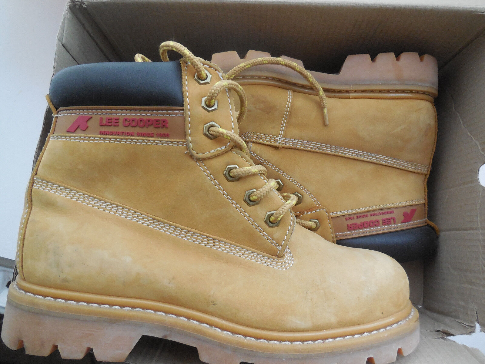 Mens New Brown Leather Safety Steel Toe Cap Padded Padded