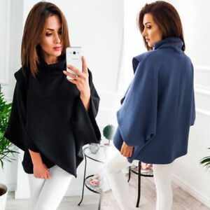 US-Women-Winter-High-collar-Warm-Hoodies-Long-Sleeve-Cape-Jacket-Casual-Outwear