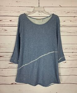 Soft Surroundings Women's Sz S Small Blue Long Sleeve Cute Sweatshirt Tunic Top