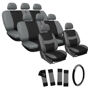 25pc Set Gray Black VAN Seat Cover FREE Steering Wheel Belt Pads Head Rests