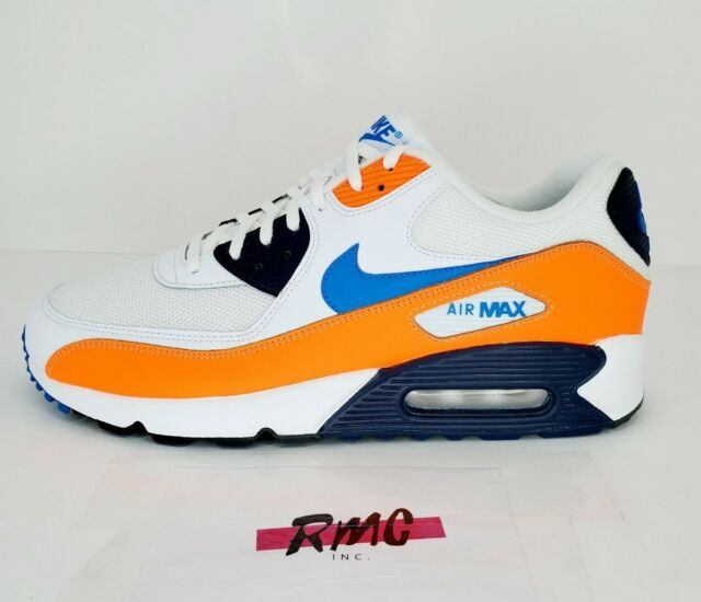 Nike Air Max 90 Essential White Blue Orange AJ1285-104 Running Shoes Men's 10.5