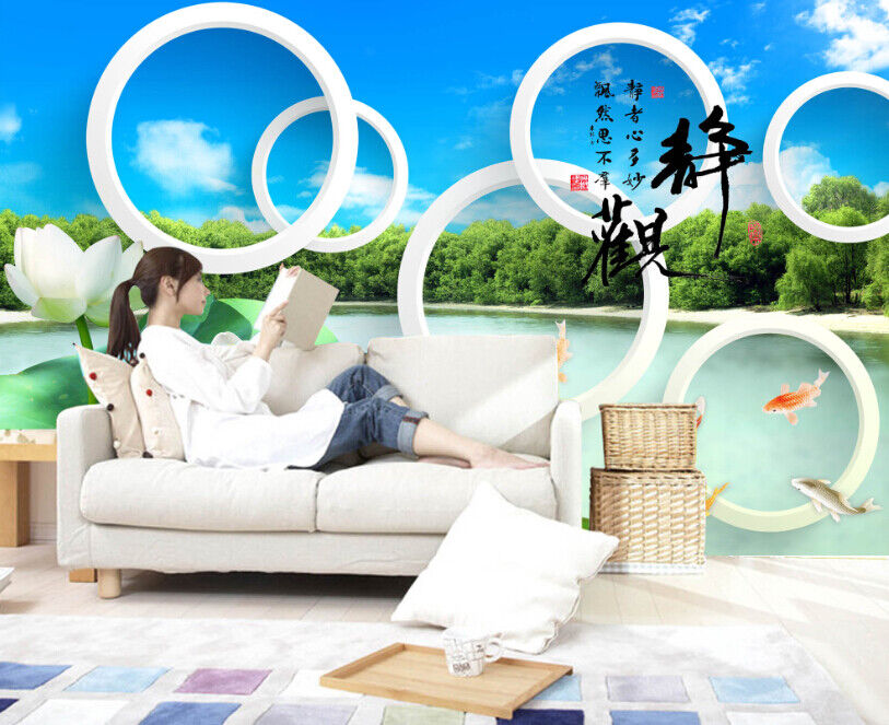 3d Sky Ring Lake 722 Mural Paper Print Wallpaper Murals Uk