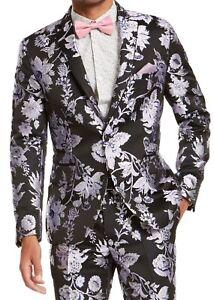 INC Mens Blazer Purple Black Size Medium M Floral Jacquard Slim Fit $149 128